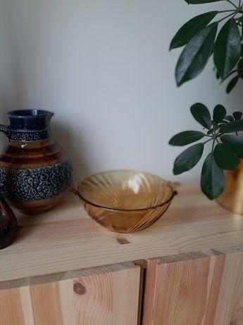 Piękna szklana misa miska bursztynowe miodowe szkło