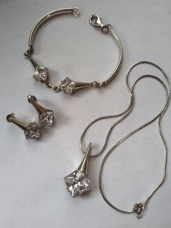 Komplet srebra bransoletka kolczyki zawieszka duże cyrkonie srebro