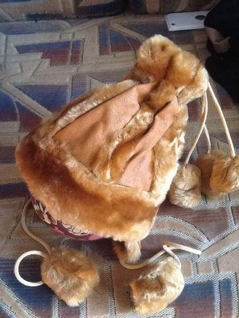 Шапка детская зимняя, утеплена мехом снаружи и внутри,ушки прикрыты