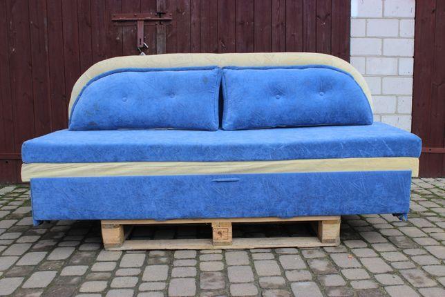 Kanapa niebiesko/kremowa z poduszkami