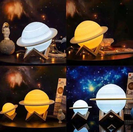 Lampka Nocna Saturn 3D Dotykowa 3 tryby Nowa Okazja