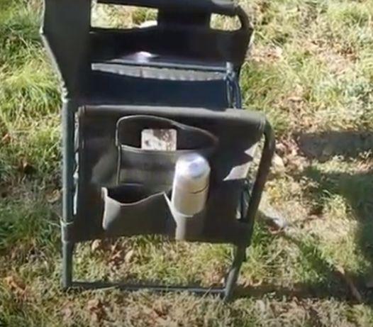 Складной стул мягкий на пикник и рыбалку с карманами и столом