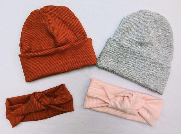 Handmade, czapki, tkanina prążek, opaski