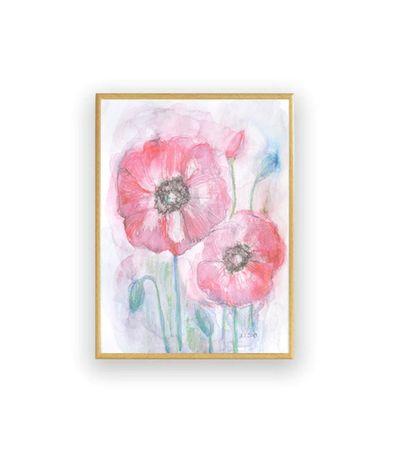 kwiaty akwarela, ładny rysunek z kwiatami, maki akwarela malowana ręcz