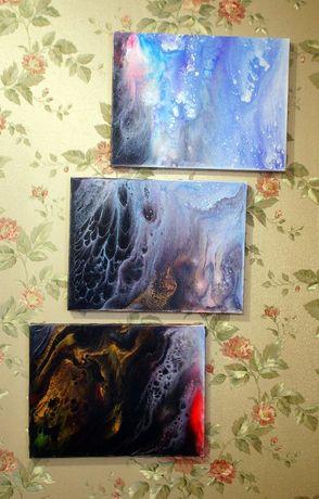 Продам картину в стиле Флюид Арт(триптих)