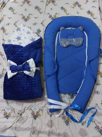 Зимнее синтепоновое одеяло-конверт из плюша на выписку+кокон-гнездышко