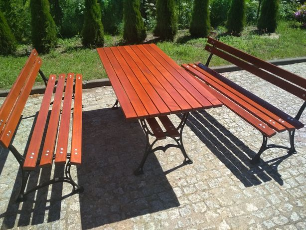 Zestaw mebli ogrodowych drewnianych