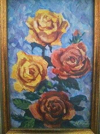 Obraz olejny - oprawiony  Róże 20x15 cm