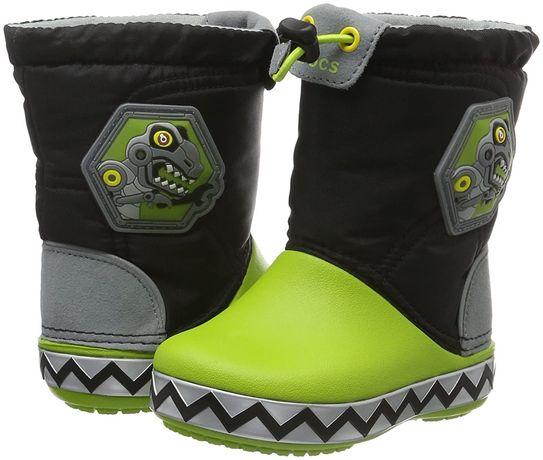 Сапоги крокс зимние светящиеся Crocs Kids CrocsLights LodgePoin C12
