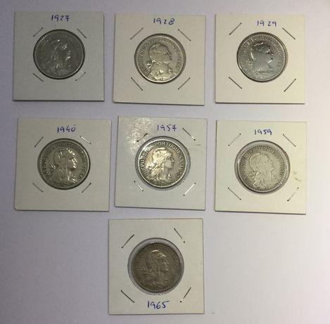 Moedas 1 escudo Alpaca (1927, 1928, 1929, 1940, 1957, 1959 e 1965)