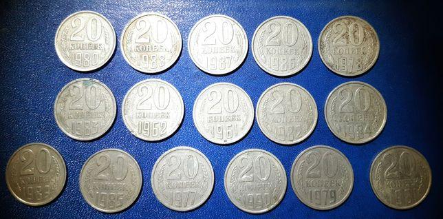 Продам монеты СССРоптом 1,2,3,10,15,20коп погодовки,без повторов(фото)