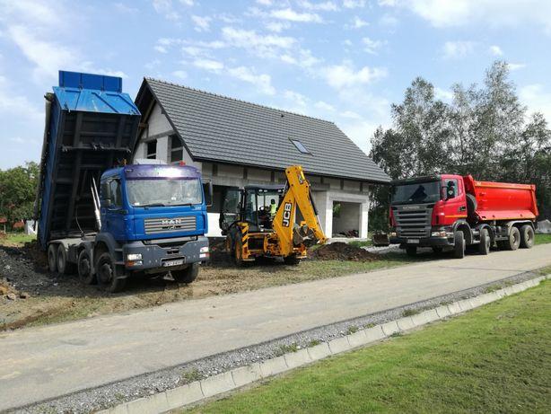Usługi koparko-ładowarką, Roboty ziemne koparką, Kamień Piasek zasyp