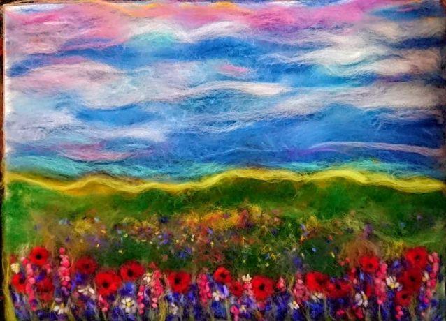 Картина вовняна (шерстяна) акварель Цветочное поле