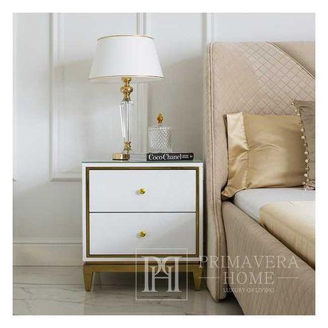 Szafka nocna biało złota do sypialni GLAMOUR Lorenzo S Gold