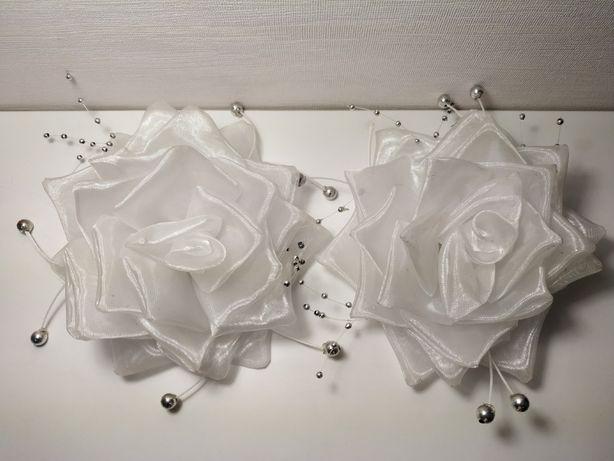 Школьный банты белые розы с блестками