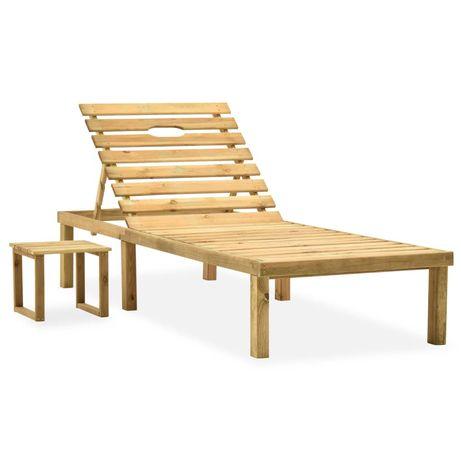vidaXL Espreguiçadeira de jardim com mesa madeira de pinho impregnada 315395