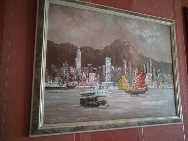"""Obraz olejny-ręcznie malowany-sygnowany""""Zlot starych żaglowców"""