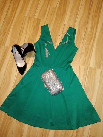 H&M zielona butelkowa koktajlowa sukienka stan idealny S 36 jak zara