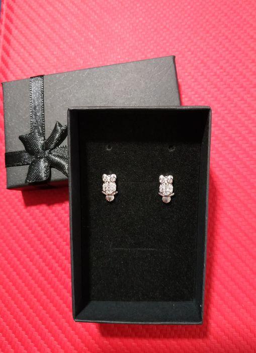 Kolczyki srebrne ze sztyftem, sowy z cyrkoniami Piotrków Trybunalski - image 1
