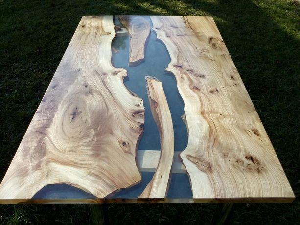 Stół z żywicy epoksydowej wiąz przezroczysty, sam blat