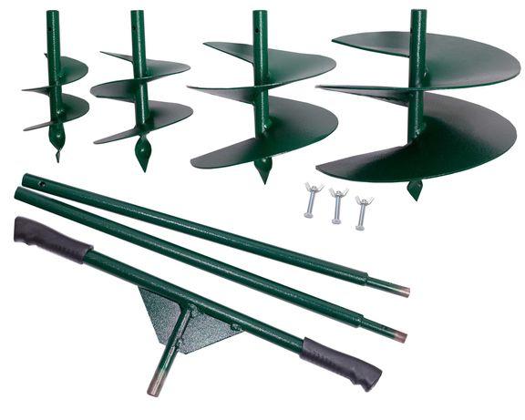 Бур ручной садовый, 4 насадки, разный диаметр, разборная конструкция