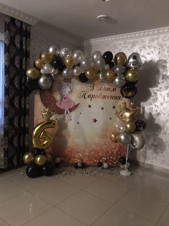 Фотозона, банер 2*2 з каркасом для дівчинки балеринка день народження