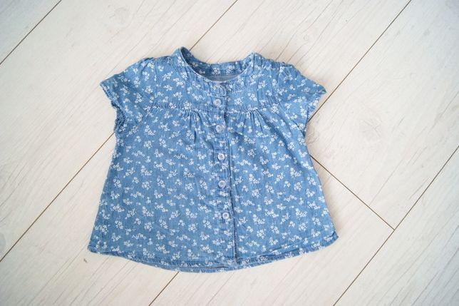 Koszula na guziki w kwiatki bluzka dla dziewczynki Pepco r.74