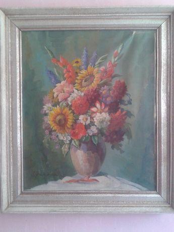 Stary obraz olejny- kwiaty w wazonie
