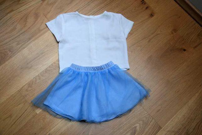 Elegancki zestaw spódniczka z tiulem i biała bluzeczka rozmiar 80