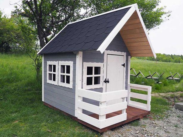 Śliczny Domek dla Dzieci Drewniany Ogrodowy Biały Szary z Tarasem