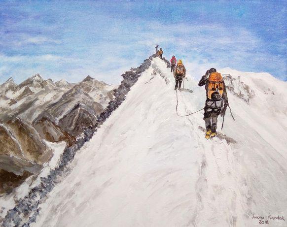 """Obraz ręcznie malowany """"W drodze na Allalinhorn"""" (4027)"""