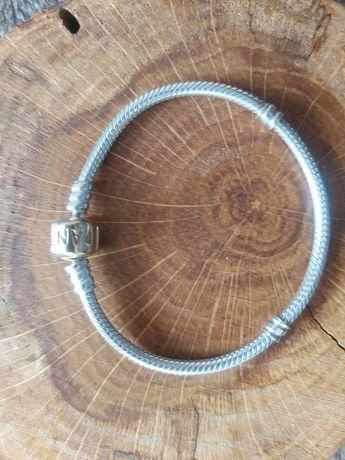 Bransoletka Pandora moments srebro + złoto 585 rozm 17cm nowa