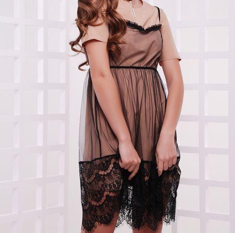 Сукня 2 в1, вечірня,  платье ажур коктейльна, 46 розмір