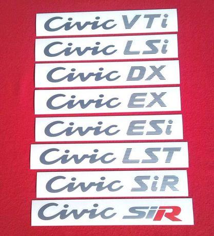 Autocolantes Honda Civic Vti, Esi, Ex, Lsi, Dx, SiR e Sport