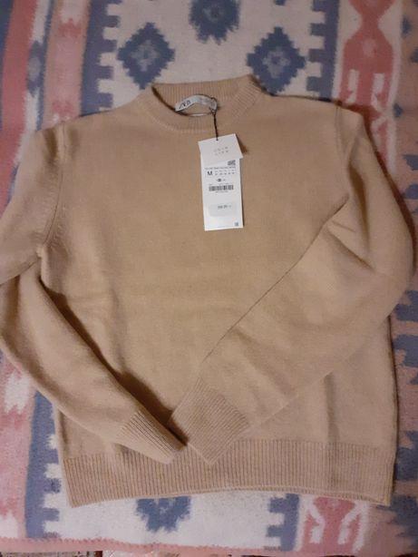 Zara kaszmirowy sweter CAMEL 38 M