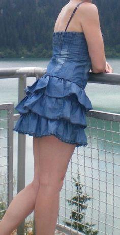 Платье женское джинсовое сарафан юбка рюшей открытый верх Франция рюш