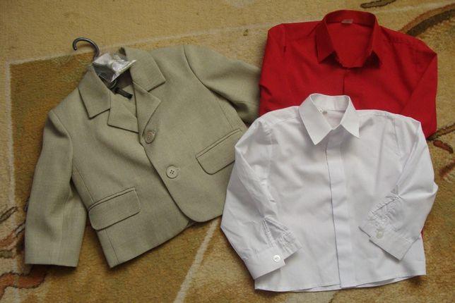 garnitur 3 częściowy rozmiar 86 do chrztu + 2 koszule i mucha