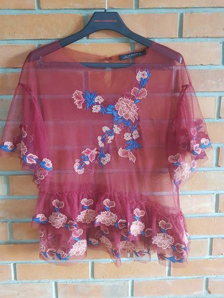 Zara bluzka mgiełka tiul plumeti haft kwiaty M