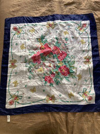 Lenço de seda floral - Vintage