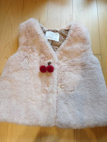 Colete cor de rosa, tamanho 2-3 anos da Zara novo