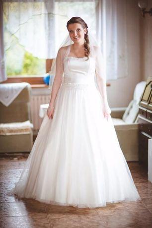 Biała suknia gorsetowa z trenem M L do negocjacji