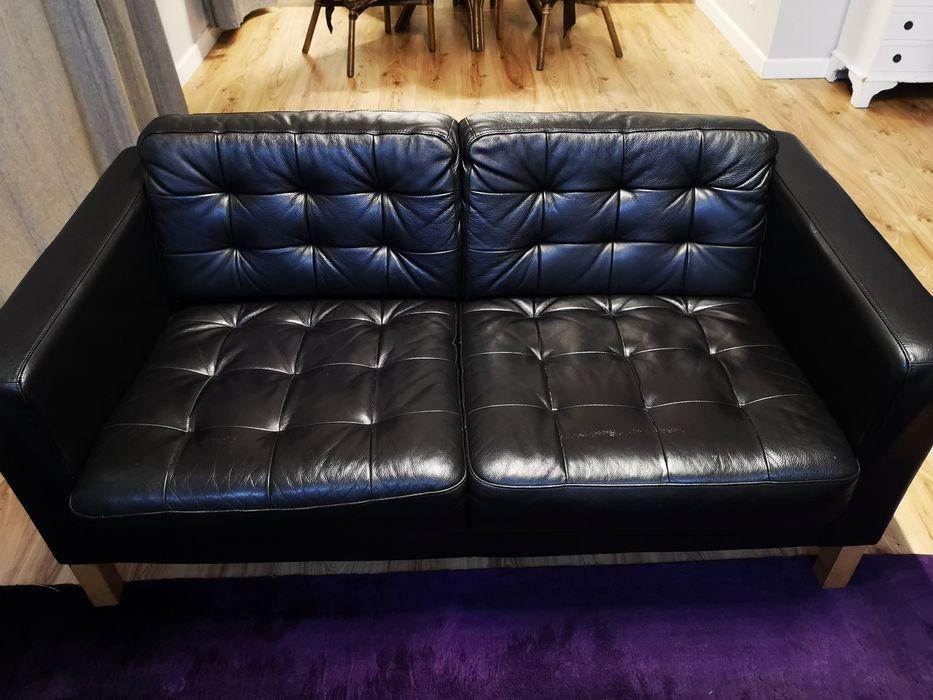 Zestaw - skórzana kanapa/sofa, fotel, duża pufa - Ikea LANDSKRONA Poznań - image 1