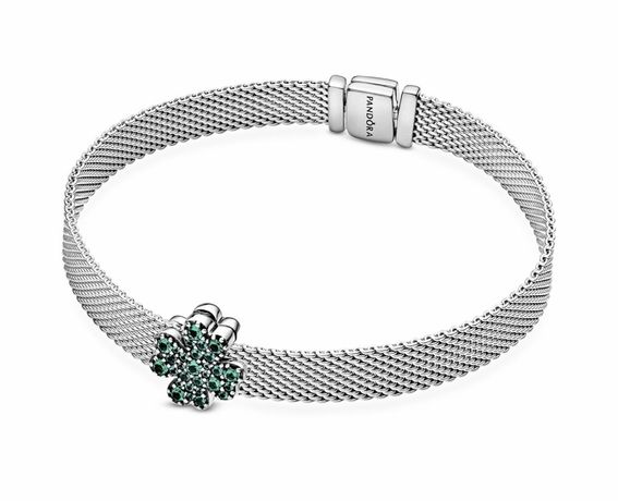 Срібний браслет Pandora Reflexions з намистиною «Чотирилисник»