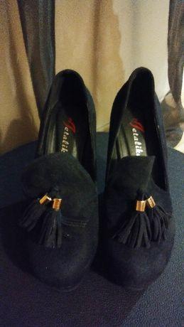 Buty damskie nowe na koturnie czarne 37