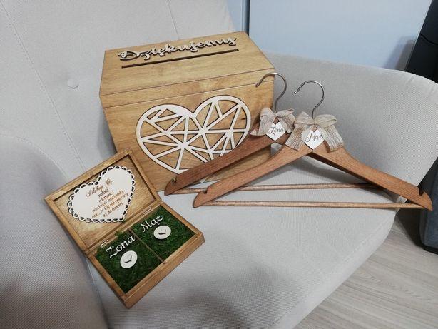 Pudełko skrzynka na koperty obrączki wieszaki mąż żona ślubne