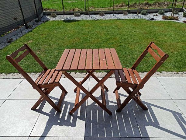 Drewniany komplet ogrodowy - stolik + 2 krzesła