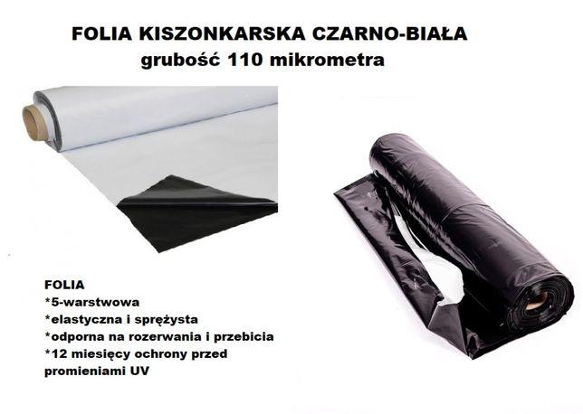 FOLIA KISZONKARSKA 10x33m czarno-biała-ELASTYCZNA na pryzmy i silosy