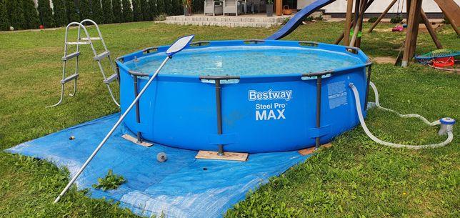 Basen ogrodowy stelażowy Bestway Max+Drabinka,  pompa, chemia, dodatki