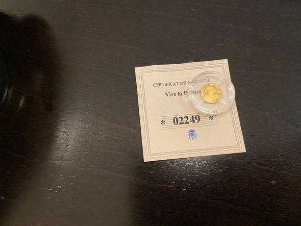 Złota moneta, żeton kolekcjonerski - Vive la France Napoleon + Cert.