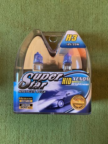НОВЫЕ! Галогенные лампы. Лампочки Фары. Hid superstar xenon H3 ксенон